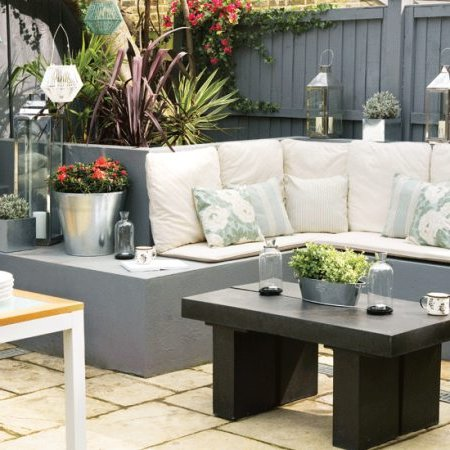 Cement garden armchairs