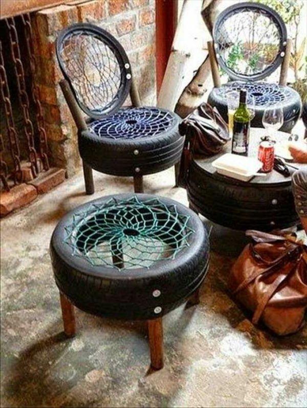 Neum ticos reciclados en decoraci n for Mesas con neumaticos