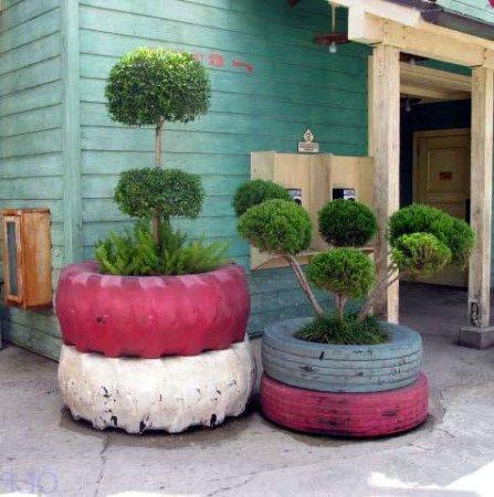 Neumáticos reciclados en decoración