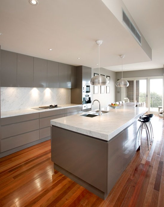 Cocinas modernas blancas y madera - Fotos cocinas modernas ...
