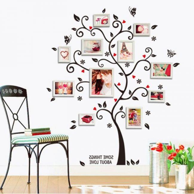 Vinilo para pared en forma de árbol, con cuadros en las ramas