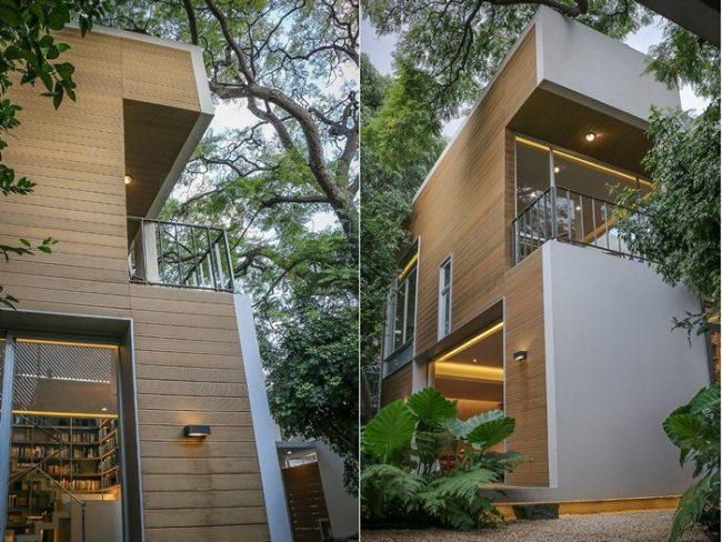 fachada en gris con madera