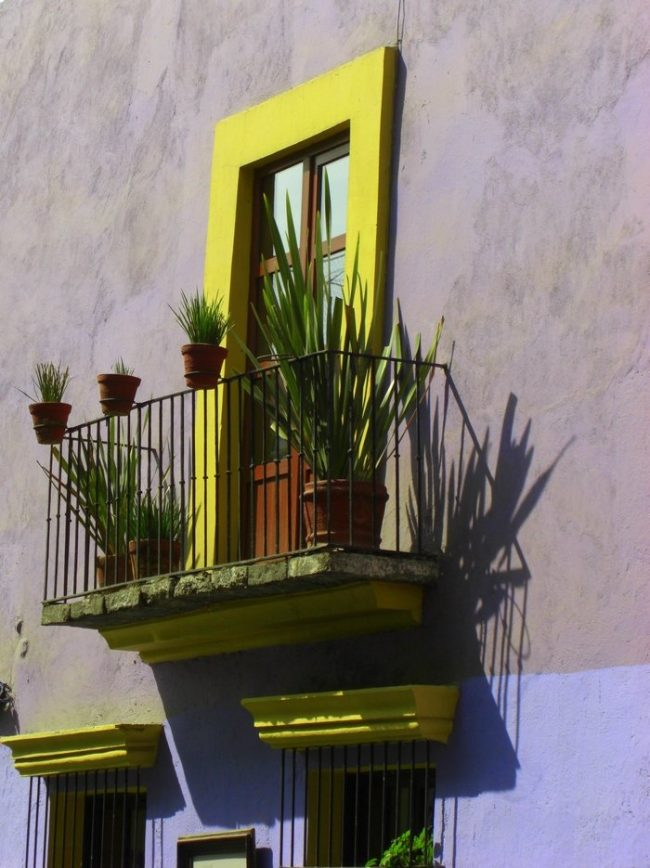 Muros gris cemento con detalles en colores neón, como amarillo y lila
