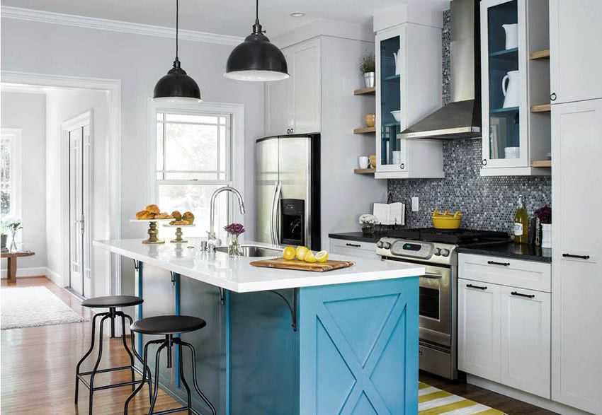 Colores para la cocina 2019 tendencias y fotos ecoraideas - Cocinas azules y blancas ...