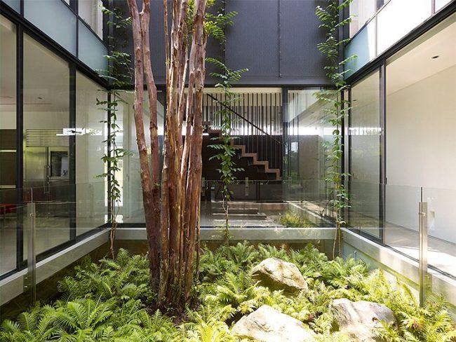 jardin interior expectacular en este dise ointerior de vivienda Diseño de jardines interiores de una casa pequeña