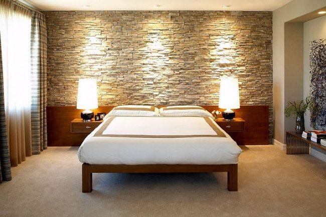 paredes de piedra ideas y 50 fotos de interiores ecoraideas. Black Bedroom Furniture Sets. Home Design Ideas