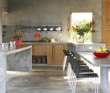 Cocinas de cemento 20 ideas y fotos ecoraideas for Cocinas integrales de concreto pequenas