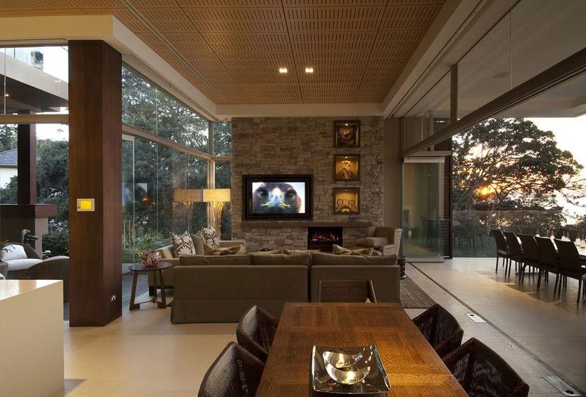 Paredes de piedra ideas y 50 fotos de interiores ecoraideas - Decoracion paredes de piedra ...