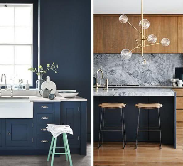 e827e5aa7f42 Por ejemplo, la combinación de azul marino silenciado con gris, blanco o  negro. Otra combinación popular es el azul y madera.