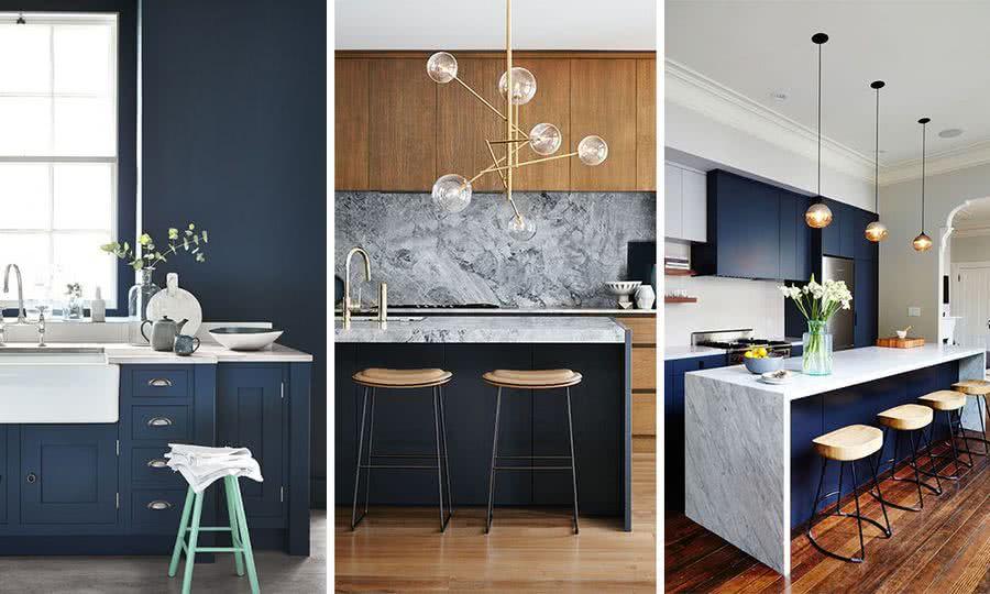 el azul marino ser uno de los colores ms utilizados en la cocina funciona bien con accesorios de latn